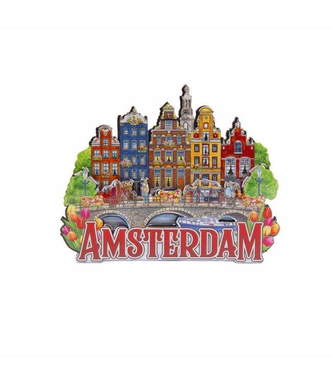 12 stuks magneet MDF 5 huizen op brug Amsterdam