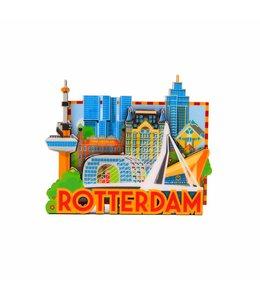 12 stuks magneet MDF Rotterdam 'Skyline'