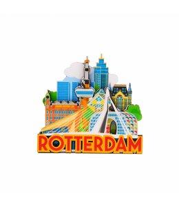 12 stuks magneet MDF Rotterdam 'City'
