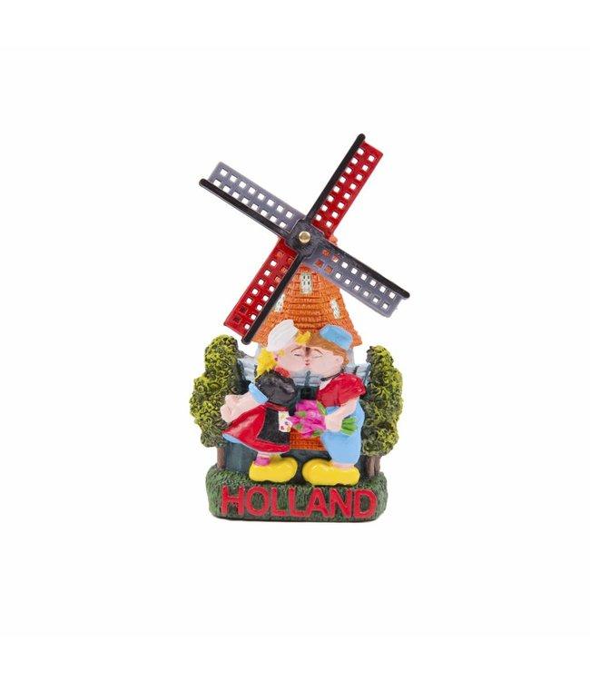12 stuks magneet polystone molen kussend paartje Holland