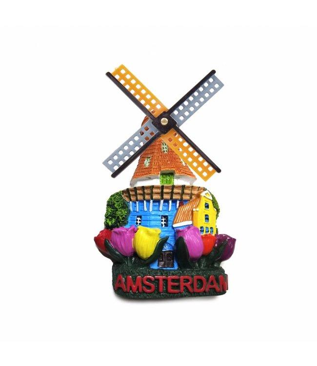 12 stuks magneet polystone molen & tulpen Amsterdam