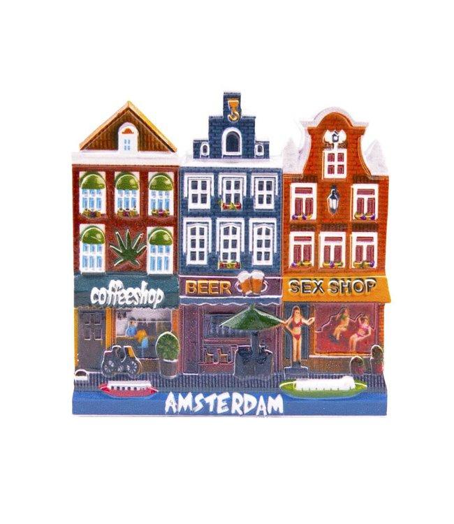 12 stuks magneet Coffeeshop/Beer/Red Light Amsterdam