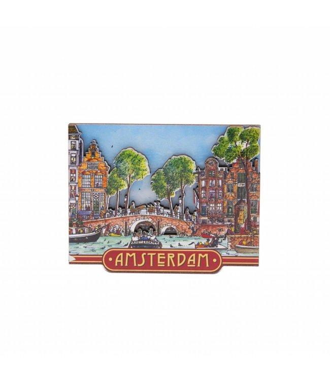 12 stuks magneet MDF grachtentafereel Amsterdam