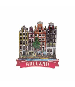 12 stuks magneet MDF 4 huizen Holland