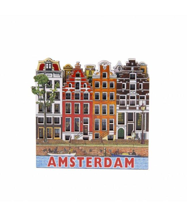12 stuks magneet MDF 4 huizen Amsterdam