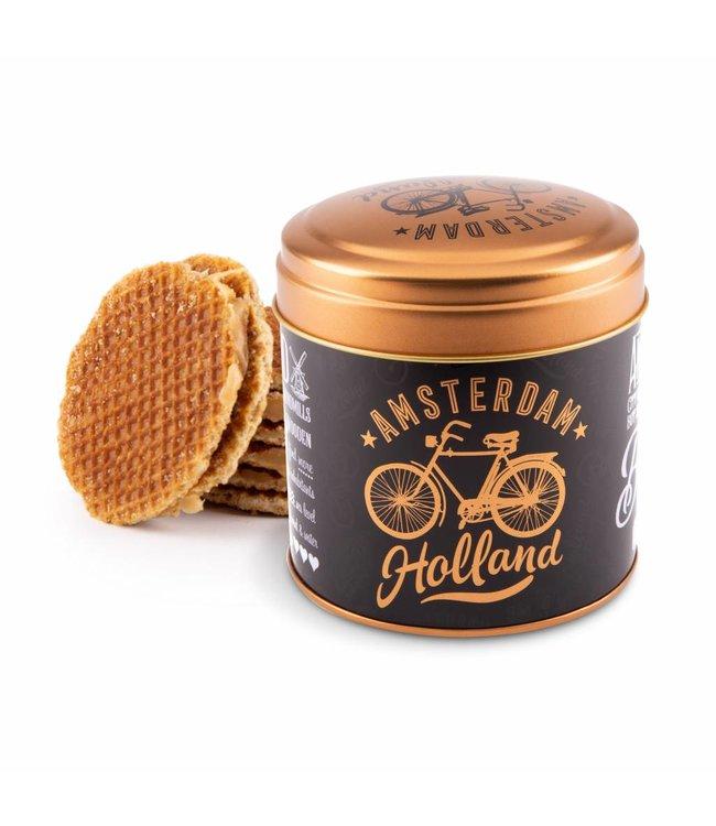 6 stuks Blik met stroopwafels Amsterdam Holland goud