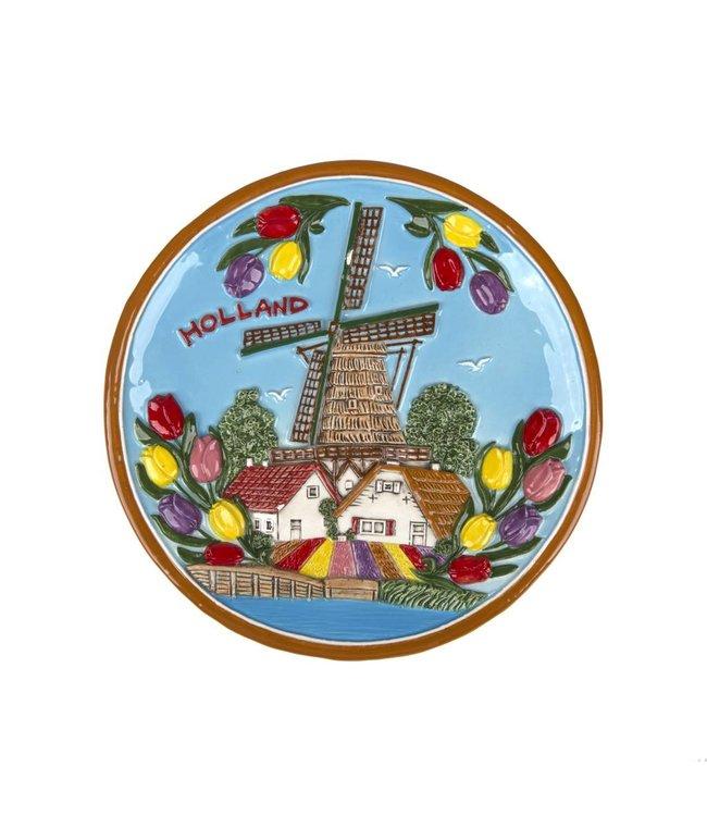 Bord 20 cm kleur Holland molen en tulpen