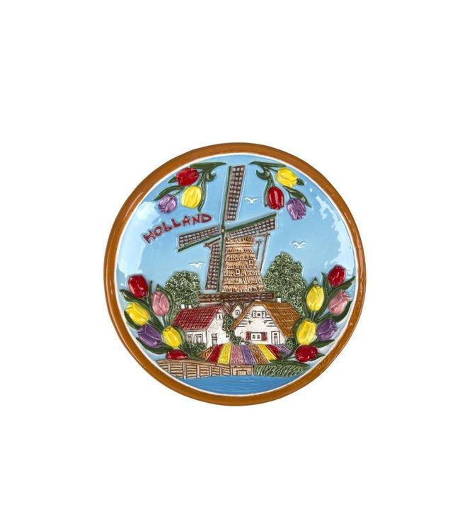 Bord 15 cm kleur Holland molen en tulpen
