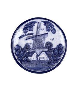 Bord 20 cm delftsblauw Holland molen en tulpen