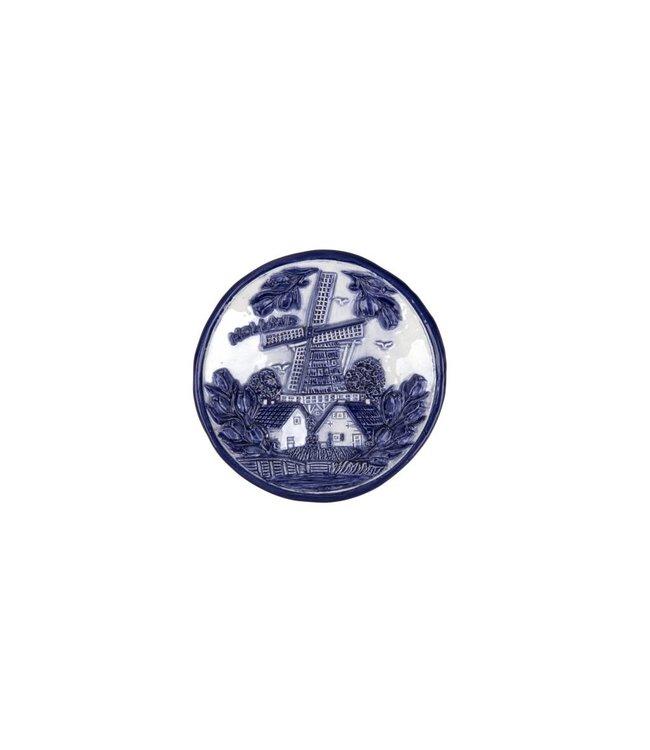 Bord 10 cm delftsblauw Holland molen en tulpen