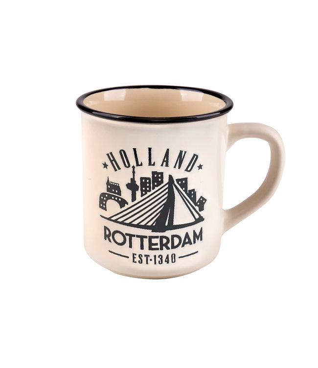 6 stuks campmug Rotterdam wit