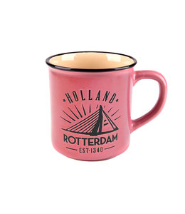 6 stuks campmug Rotterdam roze