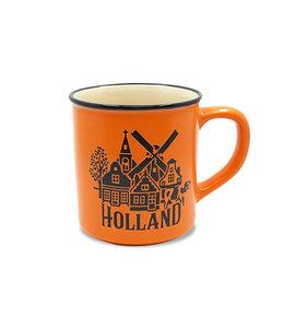 Campmug beker Holland groot oranje