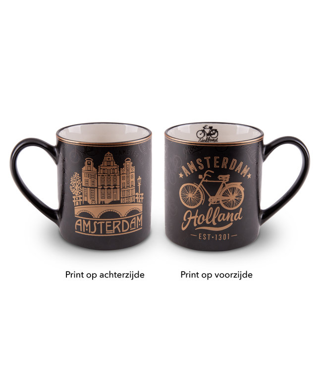 Beker Amsterdam Goudfolie fiets en huizen
