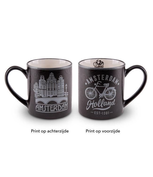 Beker Amsterdam Zilverfolie fiets en huizen