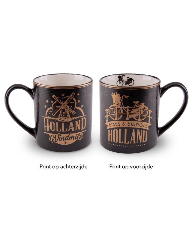 Beker Holland Goudfolie fiets en huizen
