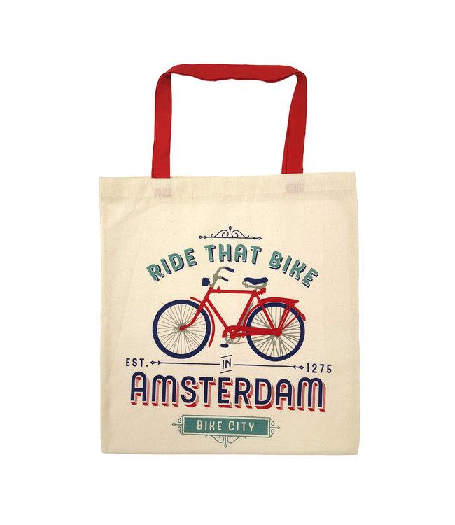 6 stuks tas katoen Amsterdam Ride That Bike