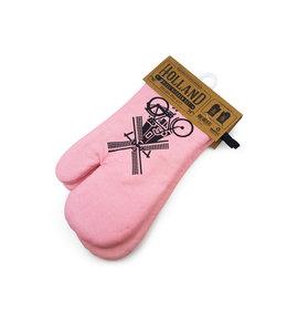 Oven handschoen roze Holland 2 stuks