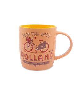 Pastel beker Holland fiets dames - oranje geel