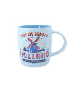 Pastel beker Holland molens - blauw
