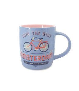 Pastel beker Amsterdam Fiets Heren - paars roze