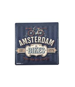 12 stuks tegelcoaster Amsterdam bikes blue