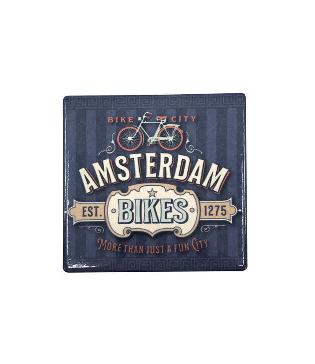 12 stuks coaster Amsterdam bikes blue