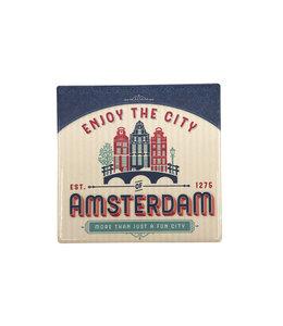 12 stuks tegelcoaster Amsterdam huisjes