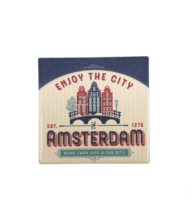 12 stuks coaster Amsterdam huisjes