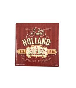 12 stuks tegelcoaster Holland bikes red