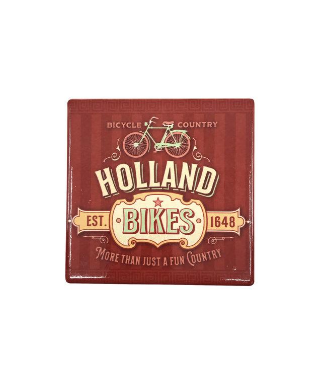 12 stuks coaster Holland bikes red