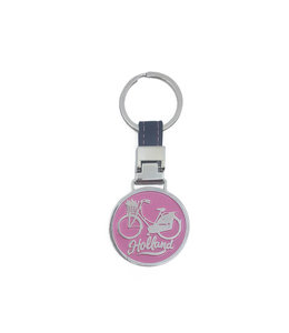 12 stuks sleutelhanger monocolor Holland fiets roze