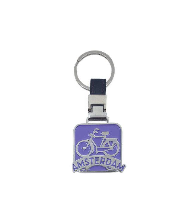 12 stuks sleutelhanger monocolor Amsterdam fiets paars