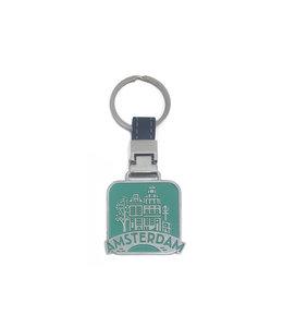 12 stuks sleutelhanger monocolor Amsterdam Huisjes groen