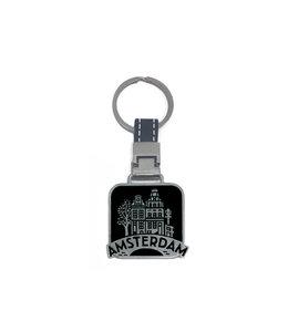 12 stuks sleutelhanger monocolor Amsterdam fiets zwart
