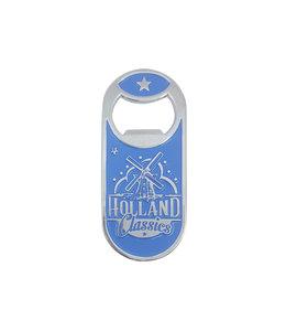 12 stuks opener magneet monocolor Holland molen blauw