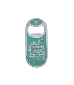 12 stuks opener magneet monocolor Amsterdam huisjes groen