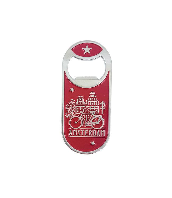 12 stuks opener magneet monocolor Amsterdam huisjes rood