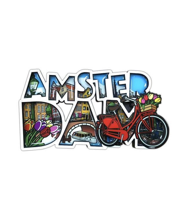 12 stuks MDF comic letters Amsterdam fiets