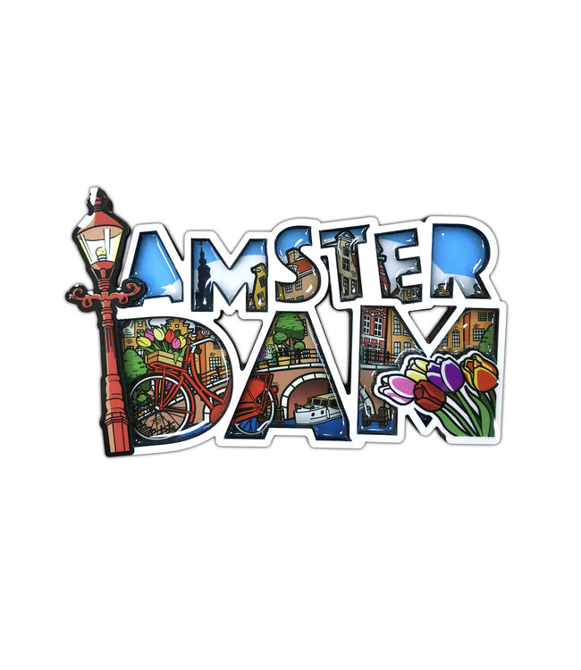 12 stuks MDF comic letters Amsterdam lantaarnpaal