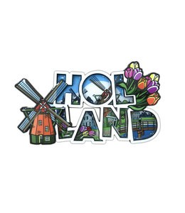 12 stuks MDF comic letters Holland molen