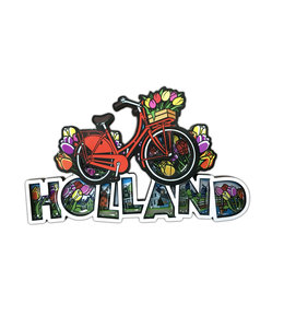 12 stuks MDF comic letters Holland fiets