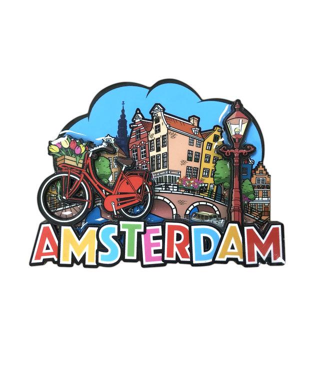 12 stuks MDF comic Amsterdam fiets