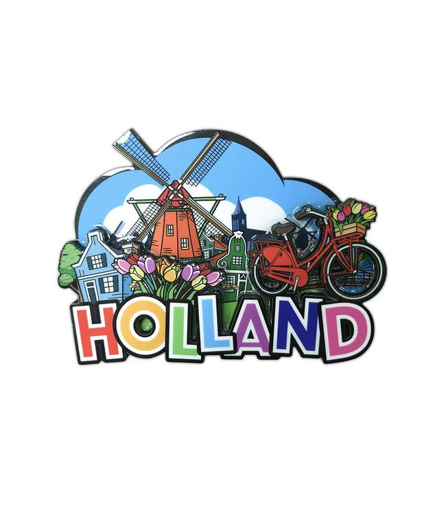 12 stuks MDF Comic Holland molen