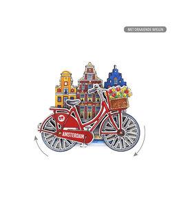 12 stuks MDF Amsterdam huisjes fiets rood met draaiende wielen
