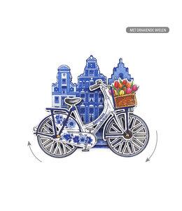 12 stuks MDF Amsterdam molen fiets delftsblauw draaiende wielen