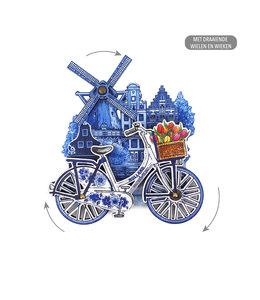 12 stuks MDF Holland molen fiets delftsblauw draaiende wielen