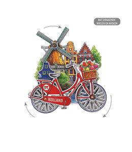 12 stuks MDF Holland molen fiets in kleur draaiende wielen