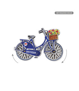 12 stuks MDF Amsterdam fiets blauw draaiende wielen