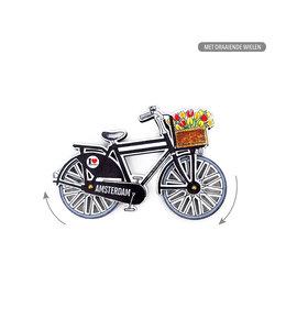 12 stuks MDF Amsterdam fiets zwart draaiende wielen